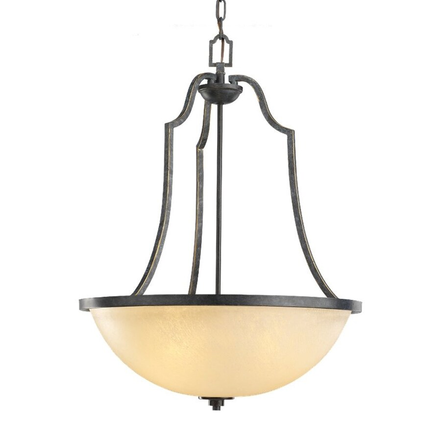 Sea Gull Lighting Roslyn 20.5-in Flemish Bronze Mediterranean Single Tinted Glass Dome Pendant