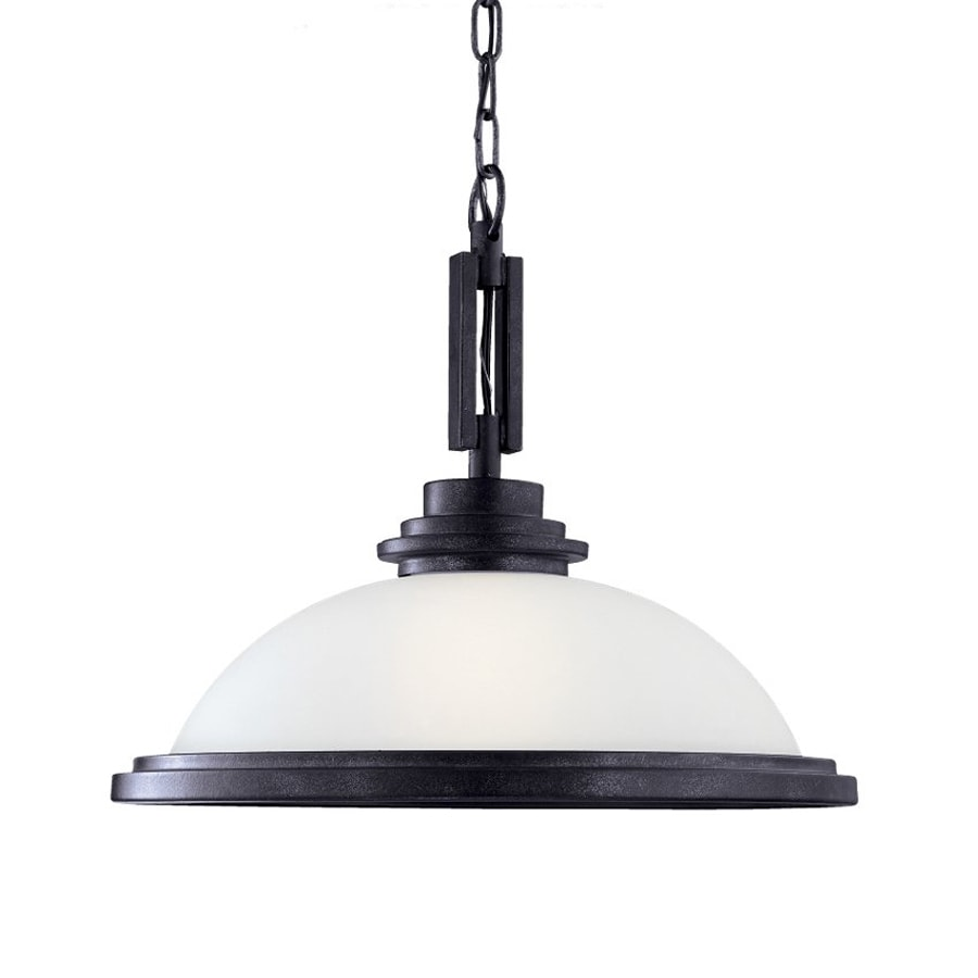 Sea Gull Lighting Winnetka 16.75-in Blacksmith Industrial Single Etched Glass Dome Pendant
