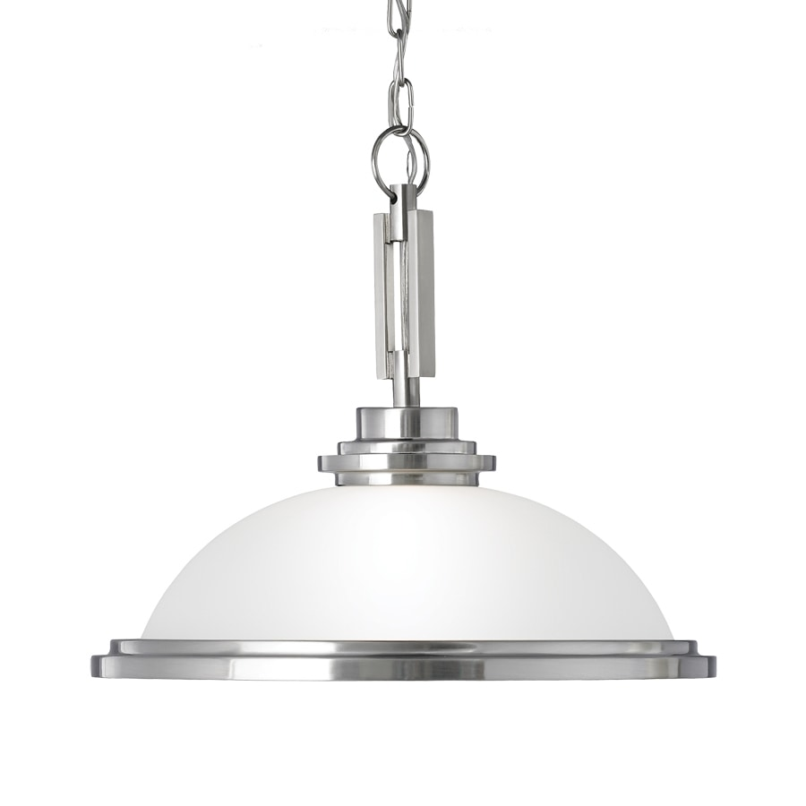 Sea Gull Lighting Winnetka 16.75-in Brushed Nickel Industrial Single Etched Glass Dome Pendant