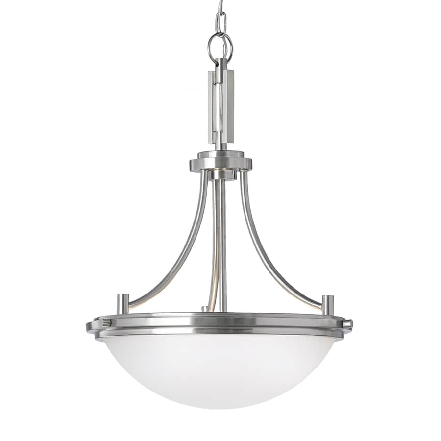 Sea Gull Lighting Winnetka 18-in Brushed Nickel Industrial Single Etched Glass Dome Pendant
