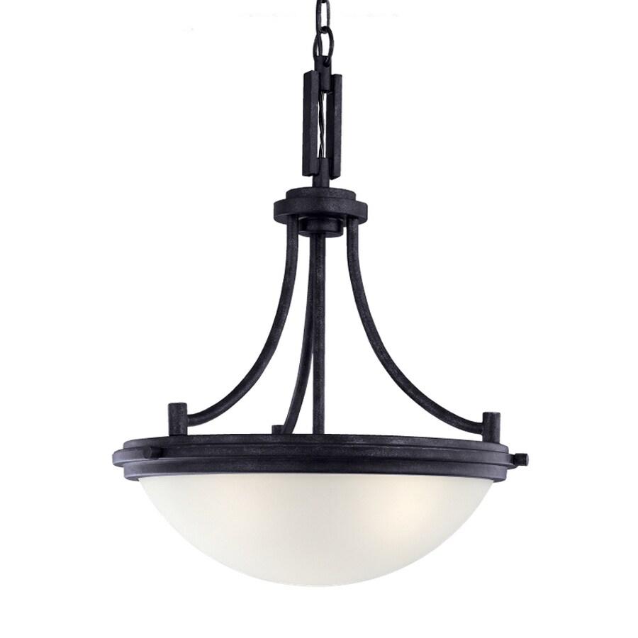 Sea Gull Lighting Winnetka 18-in Blacksmith Industrial Single Etched Glass Bowl Pendant