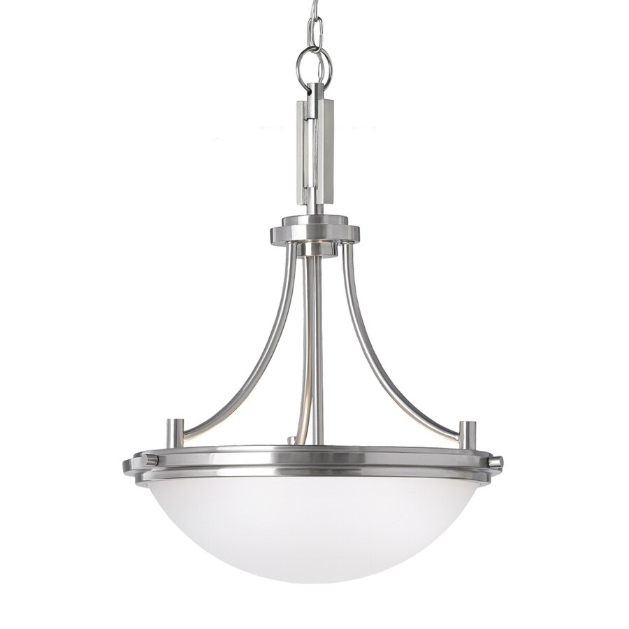 Sea Gull Lighting Winnetka 18-in Brushed Nickel Industrial Single Etched Glass Bowl Pendant