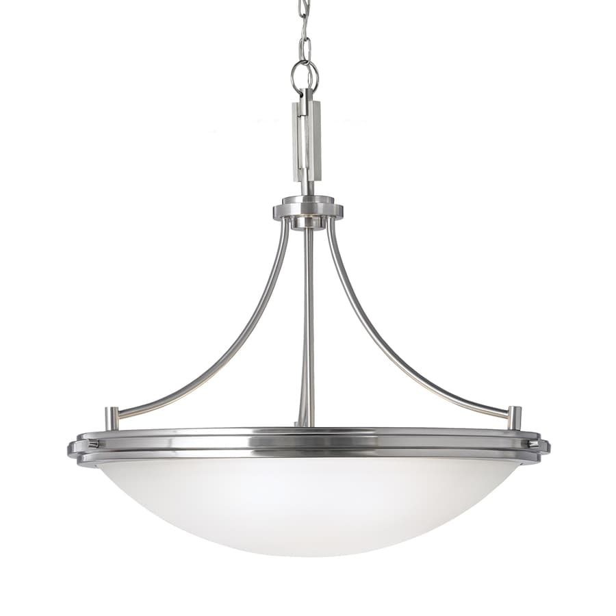 Sea Gull Lighting Winnetka 28.25-in Brushed Nickel Industrial Single Etched Glass Bowl Pendant