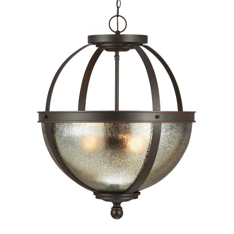 Sea Gull Lighting Sfera 18.5-in Autumn Bronze Vintage Single Mercury Glass Orb Pendant