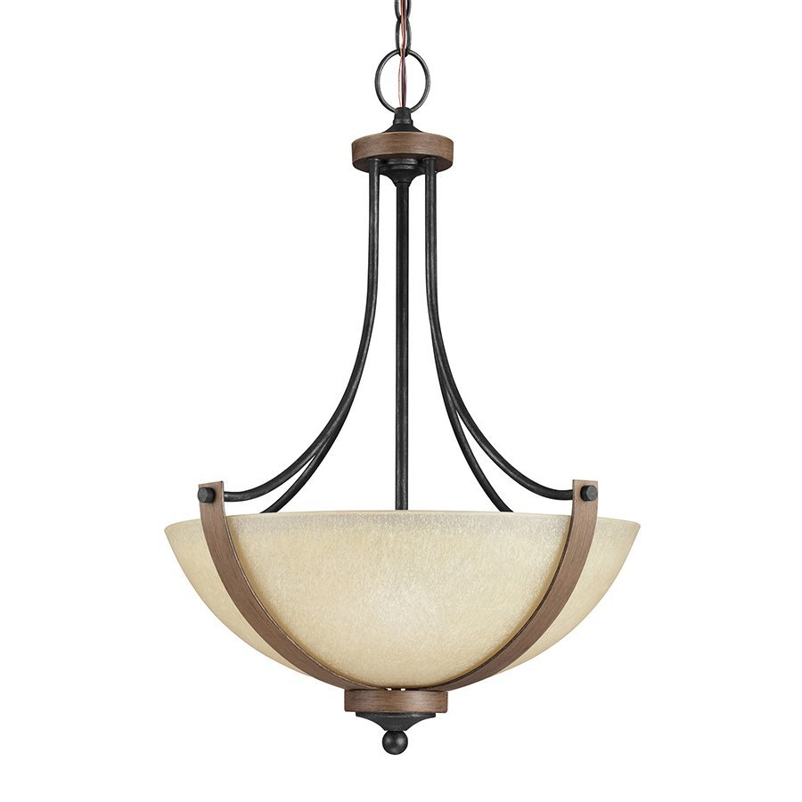 Sea Gull Lighting Corbeille 19-in Stardust/Cerused Oak Single Tinted Glass Bowl Pendant