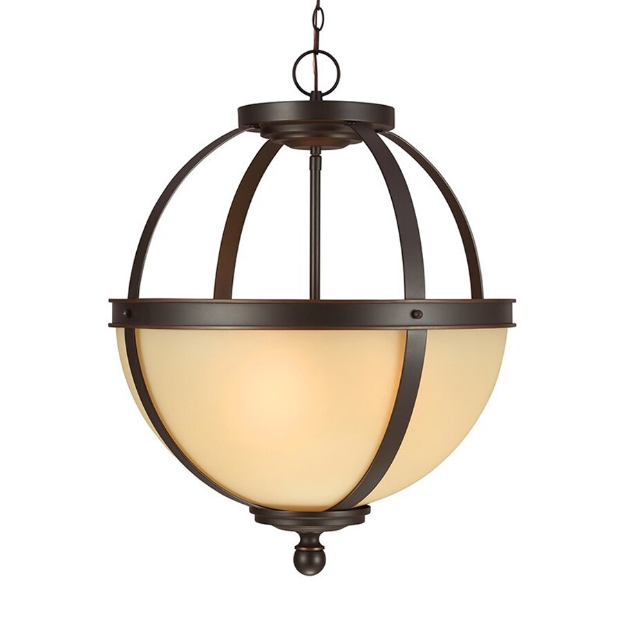 Sea Gull Lighting Sfera 18.5-in Autumn Bronze Craftsman Single Tinted Glass Orb Pendant