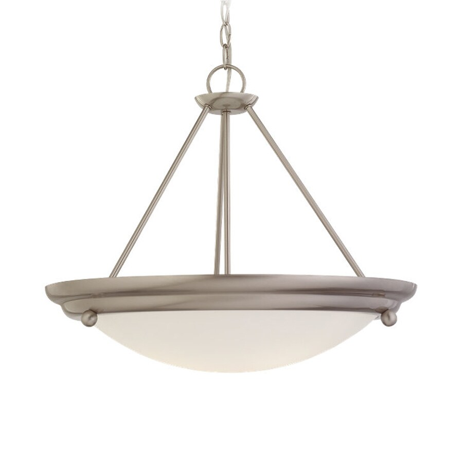 Sea Gull Lighting Centra 21.25-in Brushed Stainless Single Bowl Pendant