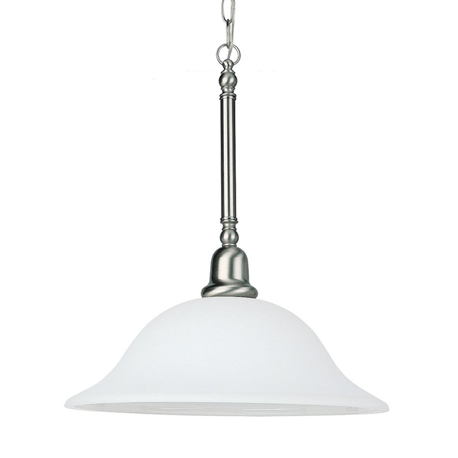 Sea Gull Lighting Sussex 15.75-in Brushed Nickel Single Dome Pendant