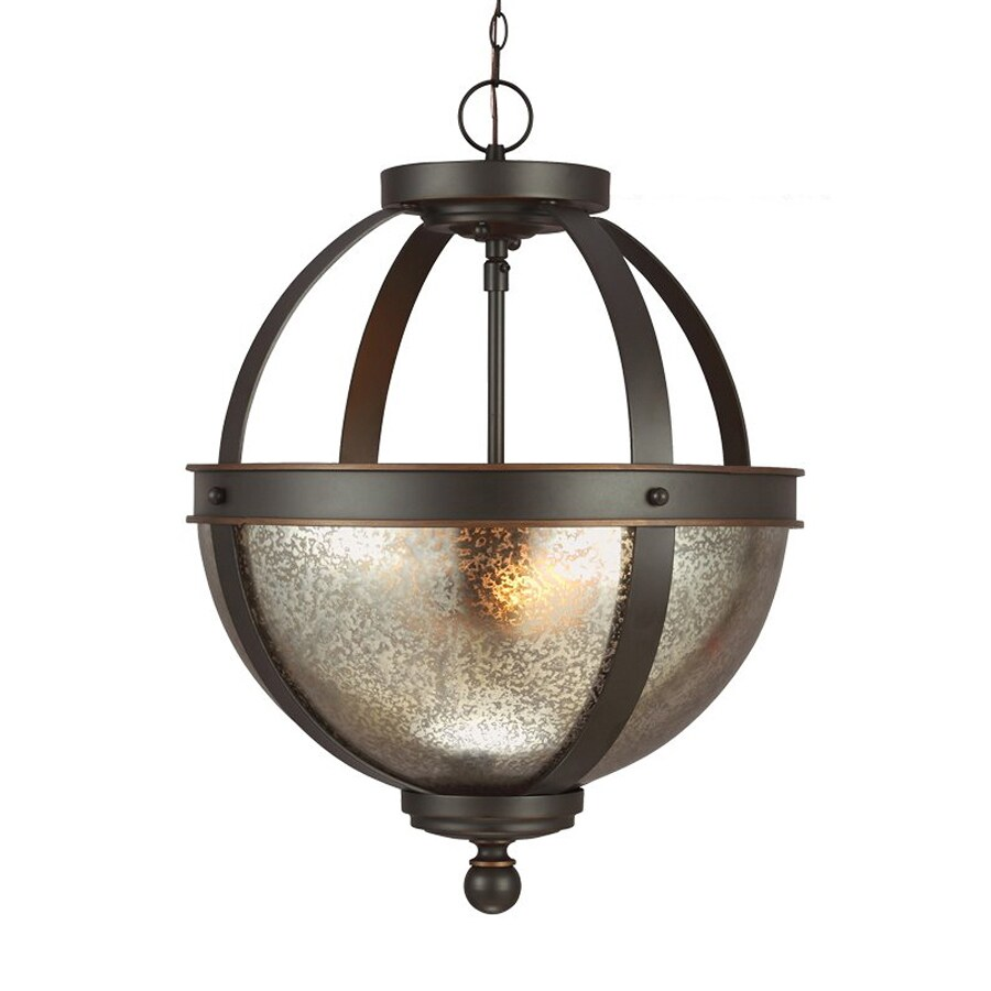 Sea Gull Lighting Sfera 13.5-in Autumn Bronze Vintage Single Mercury Glass Orb Pendant
