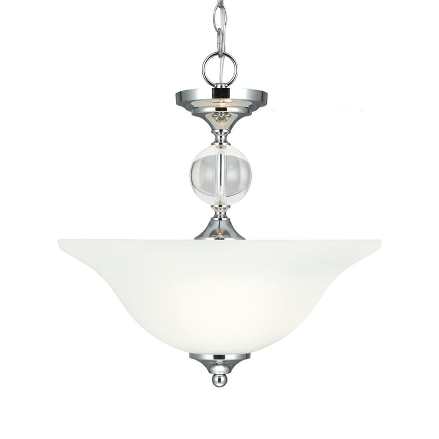 Sea Gull Lighting Englehorn 16-in Chrome Single Etched Glass Bowl Pendant