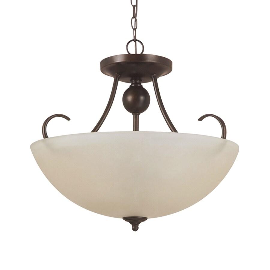 Sea Gull Lighting Lemont 16.5-in Burnt Sienna Single Tinted Glass Bowl Pendant