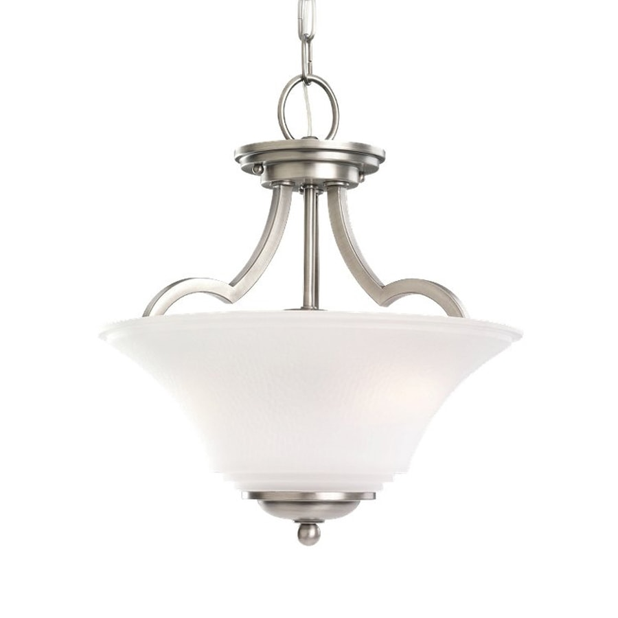 Sea Gull Lighting Somerton 13.25-in Antique Brushed Nickel Country Cottage Single Etched Glass Bowl Pendant