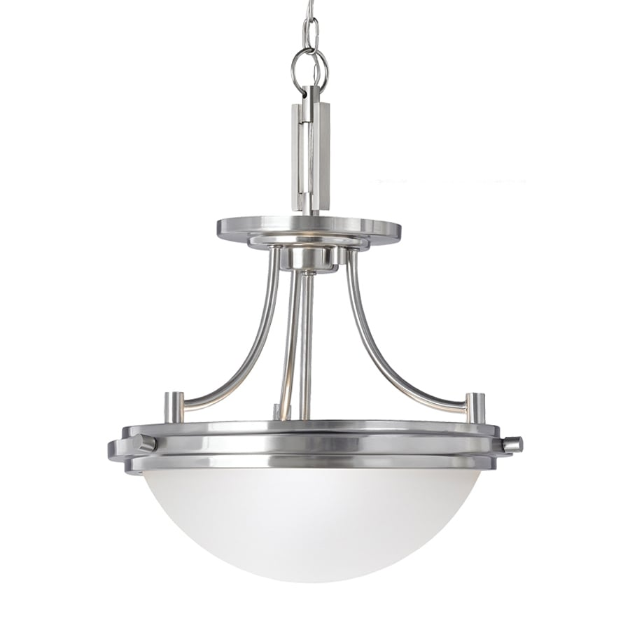 Sea Gull Lighting Winnetka 14.25-in Brushed Nickel Industrial Single Etched Glass Bowl Pendant