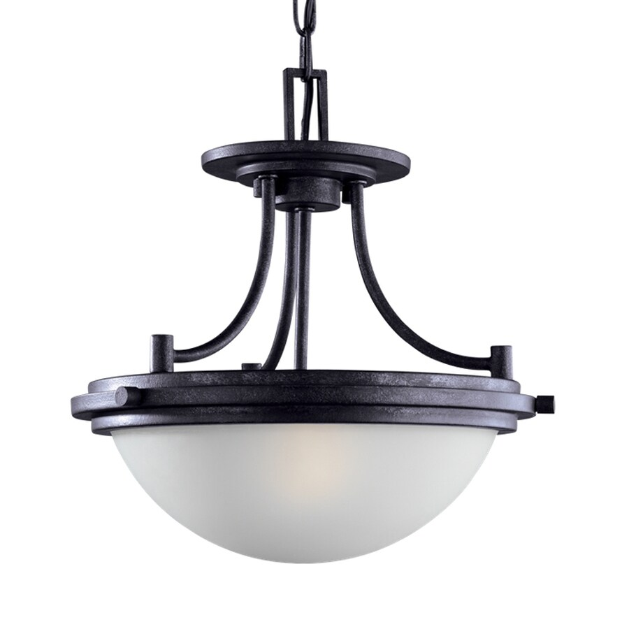 Sea Gull Lighting Winnetka 14.25-in Blacksmith Industrial Single Etched Glass Bowl Pendant