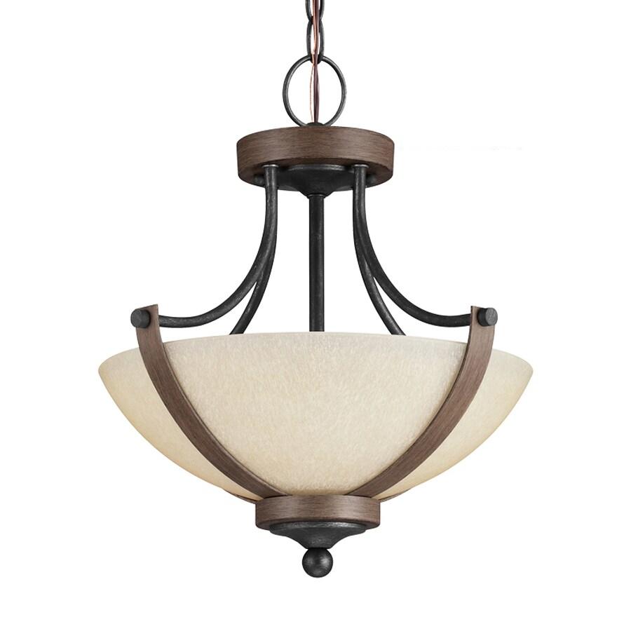 Sea Gull Lighting Corbeille 15.25-in Stardust/Cerused Oak Single Tinted Glass Bowl Pendant