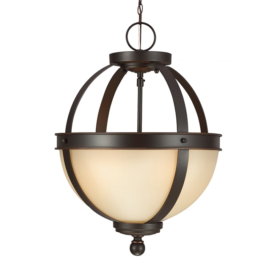 Sea Gull Lighting Sfera 13.5-in Autumn Bronze Craftsman Single Tinted Glass Orb Pendant