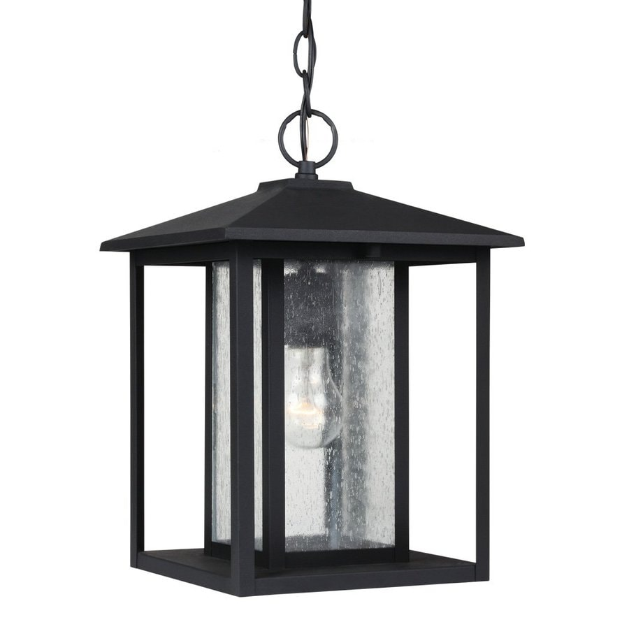 Porch Light Pendant: Sea Gull Lighting Hunnington Black Mini Transitional