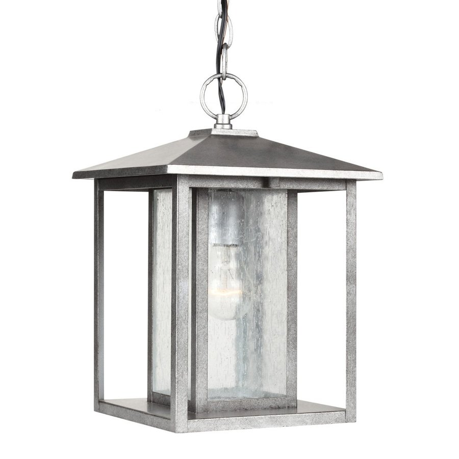 Sea Gull Lighting Hunnington 13.75-in Weathered Pewter Outdoor Pendant Light