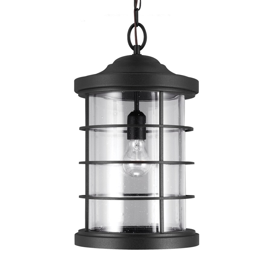 Sea Gull Lighting Sauganash 18.25-in Black Outdoor Pendant Light