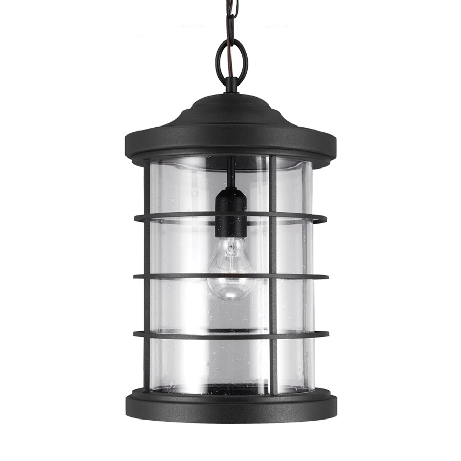 Sea Gull Lighting Sauganash 18.25-in Black Outdoor Pendant Light ENERGY STAR