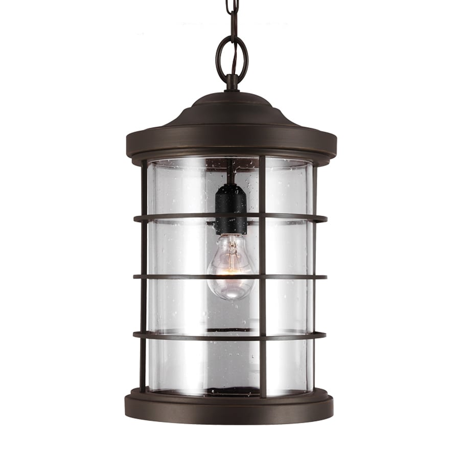 Sea Gull Lighting Sauganash 18.25-in Antique Bronze Outdoor Pendant Light ENERGY STAR