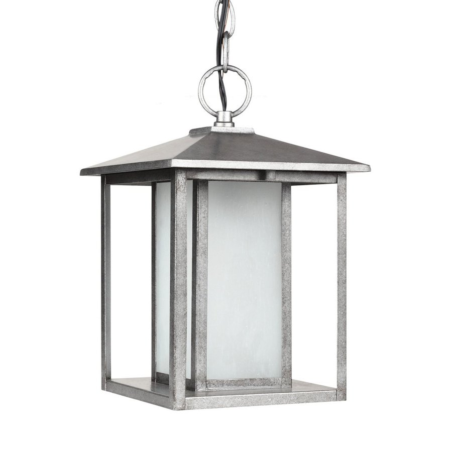 Sea Gull Lighting Hunnington 13.75-in Weathered Pewter Outdoor Pendant Light ENERGY STAR