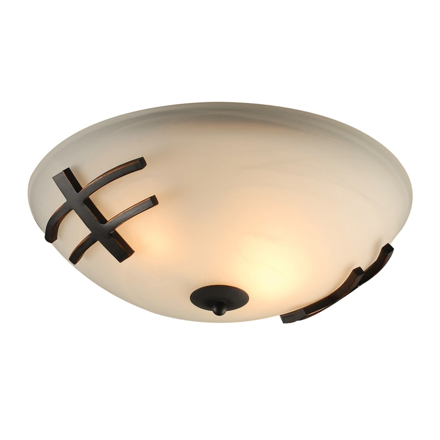 PLC Lighting Antasia 16-in W Oil-Rubbed bronze Flush Mount Light