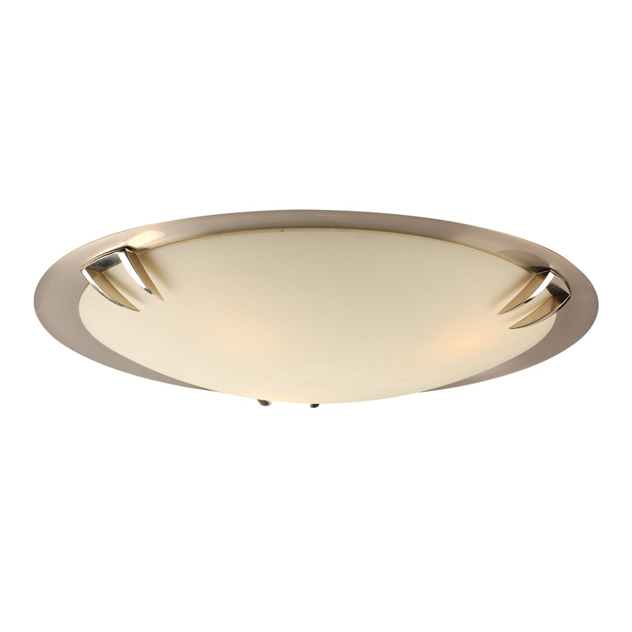 PLC Lighting Paralline 20.5-in W Satin Nickel Ceiling Flush Mount Light