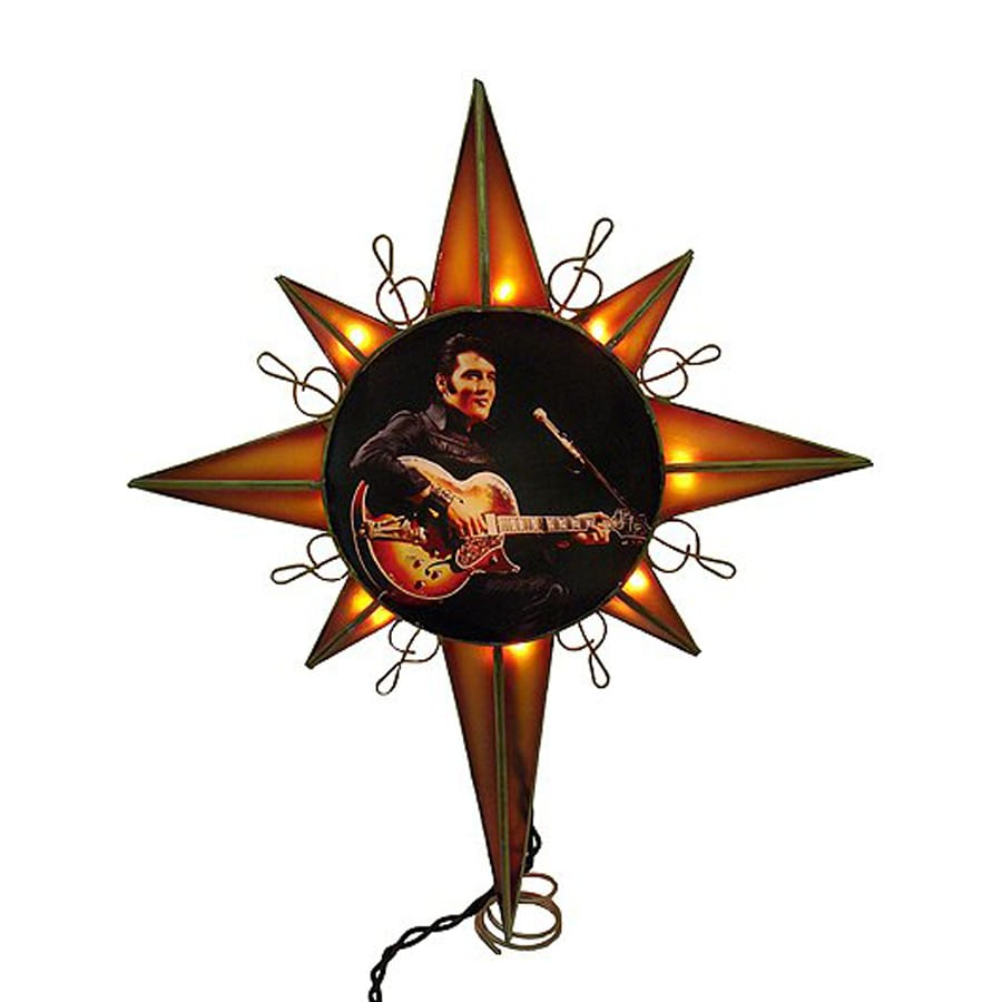 christmas central metal elvis presley star christmas tree topper with white incandescent lights