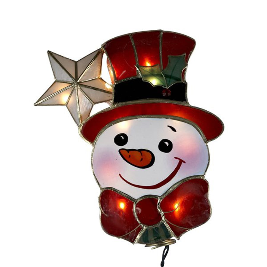 Christmas Central Capiz Snowman Christmas Tree Topper With White