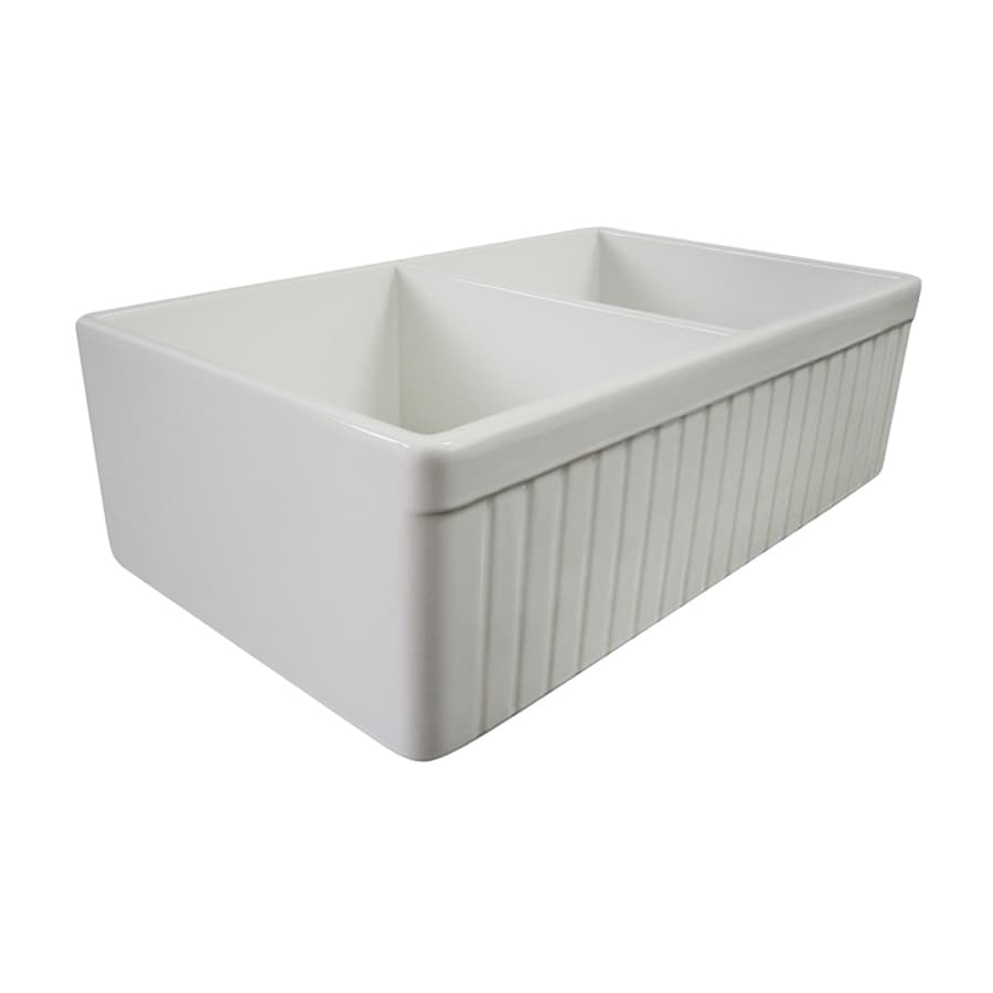Alfi 19.88-in x 32.75-in White Double-Basin Fireclay Apron Front/Farmhouse Residential Kitchen Sink