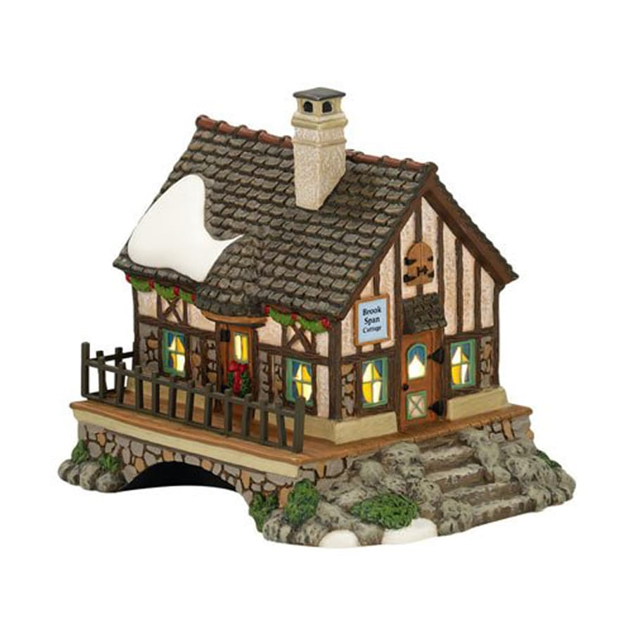 christmas central 1 piece dickens village devon brook span cottage porcelain lighted christmas collectible - Lowes Christmas Village