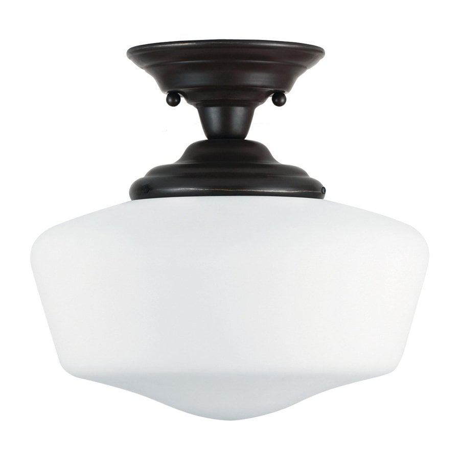 Sea Gull Lighting Academy 13-in W Heirloom Bronze Frosted Glass Vintage Semi-Flush Mount Light