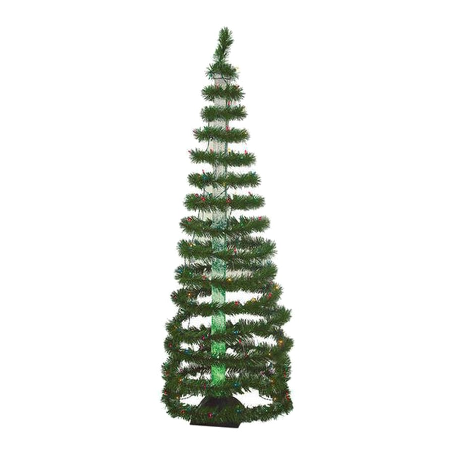 Christmas Central 6-ft Pre-Lit Spiral Tinsel Artificial Christmas Tree with  150-