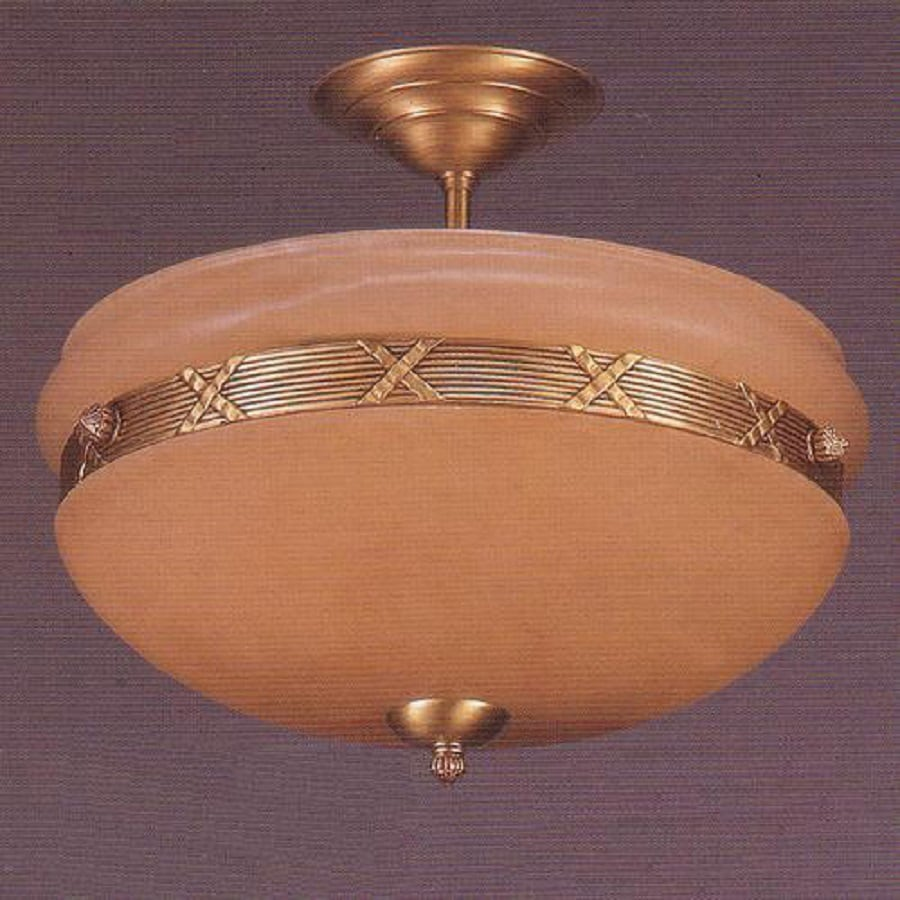 Weinstock Illuminations 15-in W Brass Alabaster Glass Semi-Flush Mount Light
