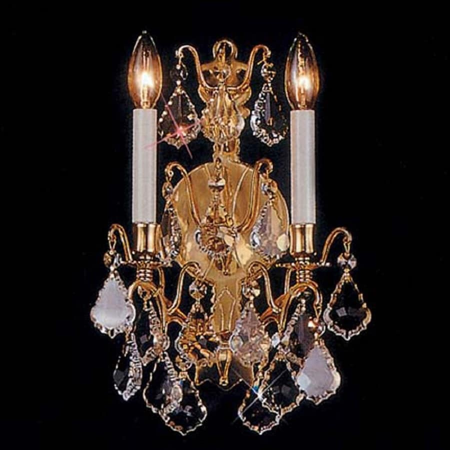 Weinstock Illuminations 11-in W 2-Light French Gold Crystal Accent Candle Hardwired Wall Sconce