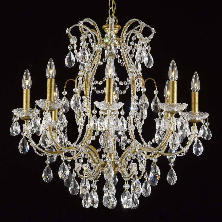 Weinstock Illuminations 26.5-in 9-Light Antique gold Crystal Crystal Candle Chandelier