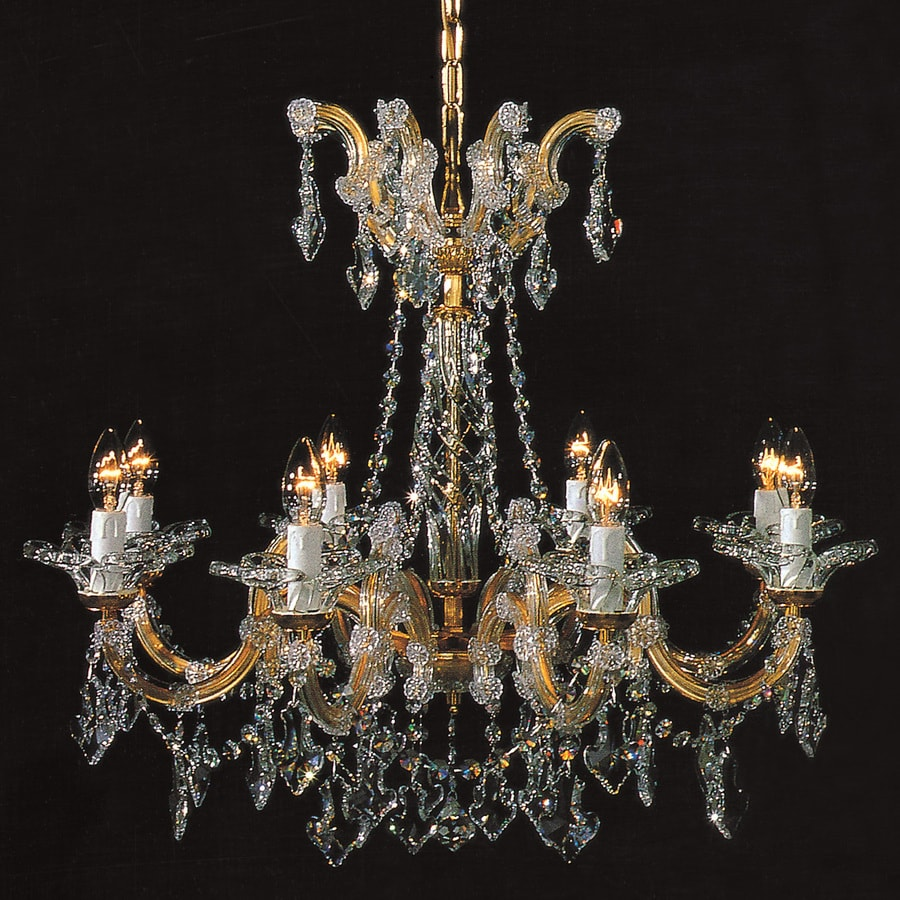 Weinstock Illuminations Maria Theresa 27-in 8-Light Gold Crystal Crystal Candle Chandelier