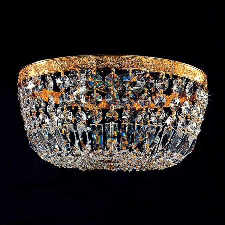 Weinstock Illuminations 30-in W Brass Crystal Ceiling Flush Mount Light