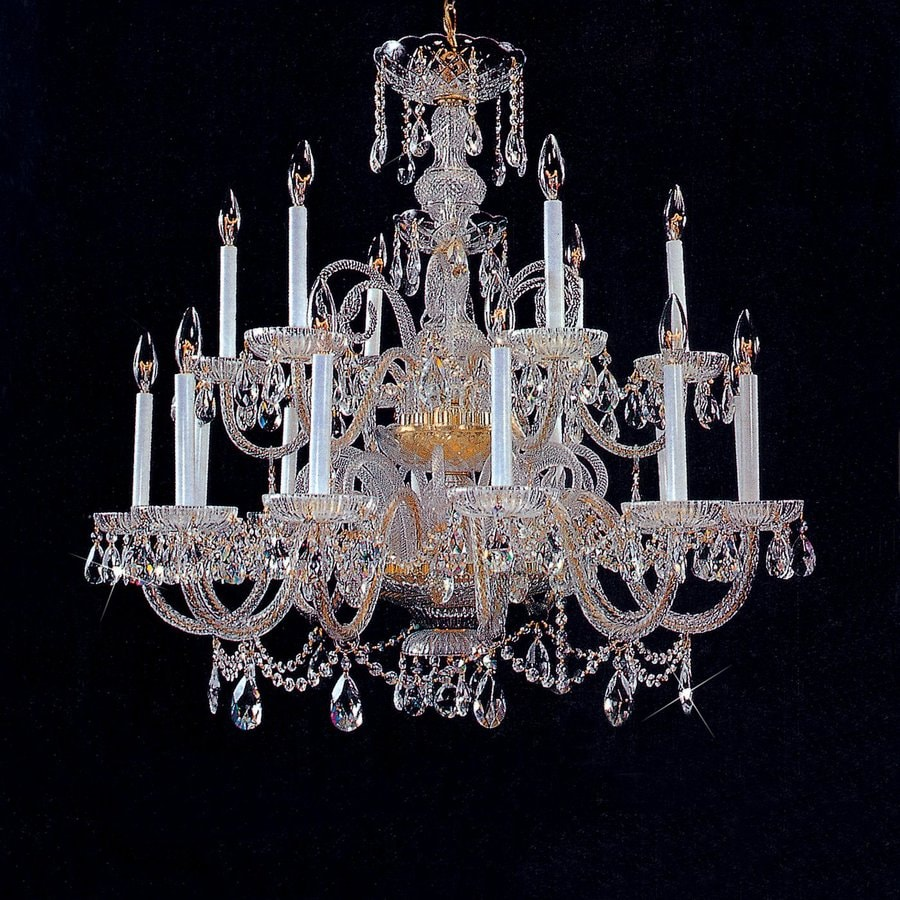 Weinstock Illuminations 49-in 28-Light Gold Crystal Tiered Chandelier