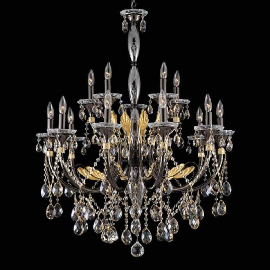 Weinstock Illuminations 33-in 12-Light Black and Gold Crystal Tiered Chandelier