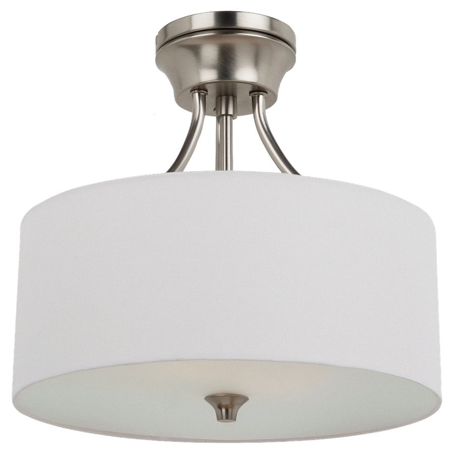 Sea Gull Lighting Stirling 14-in W Brushed nickel Fabric Semi-Flush Mount Light