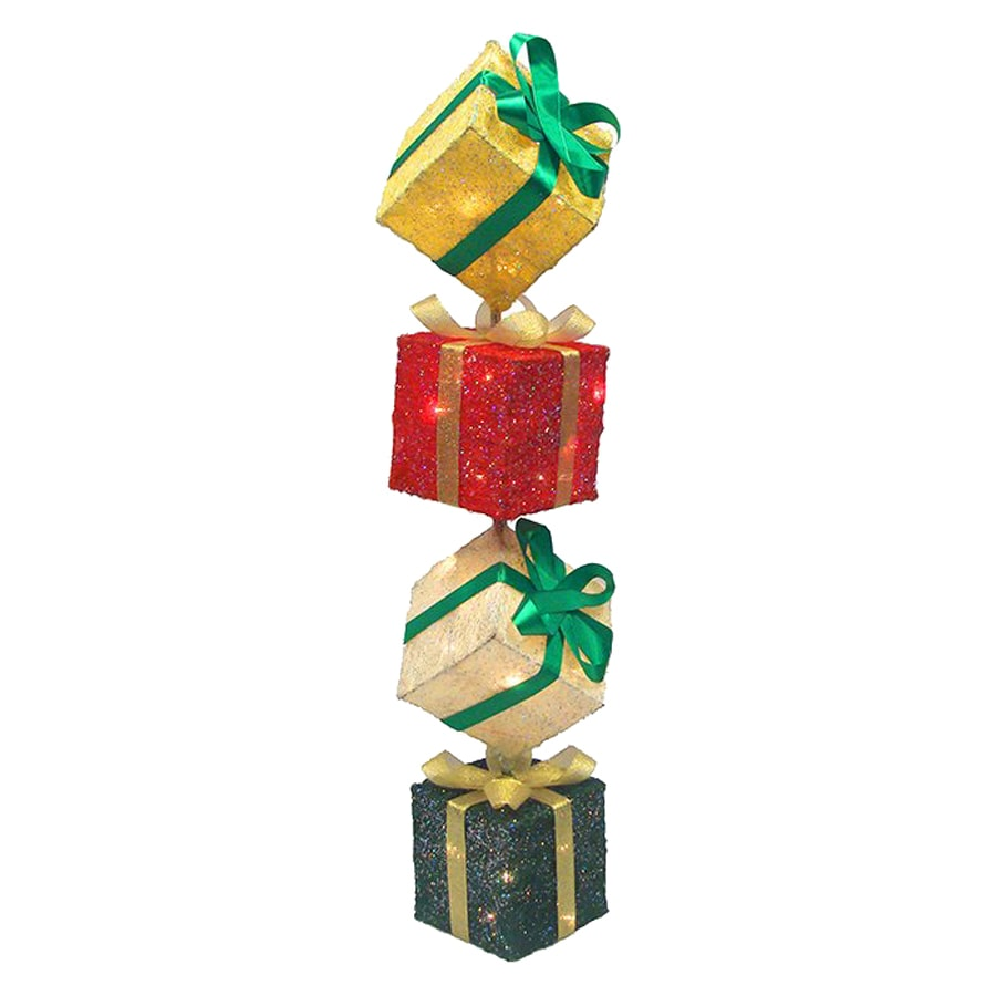 Shop northlight alger lighted gift box for Outdoor light up ornaments