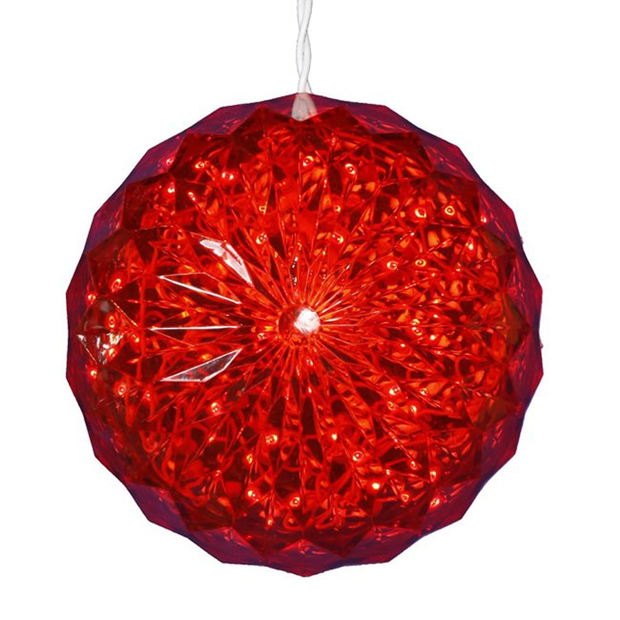 christmas central lighted sphere ball outdoor christmas decoration with red constant led lights - Lowes Lighted Christmas Decorations
