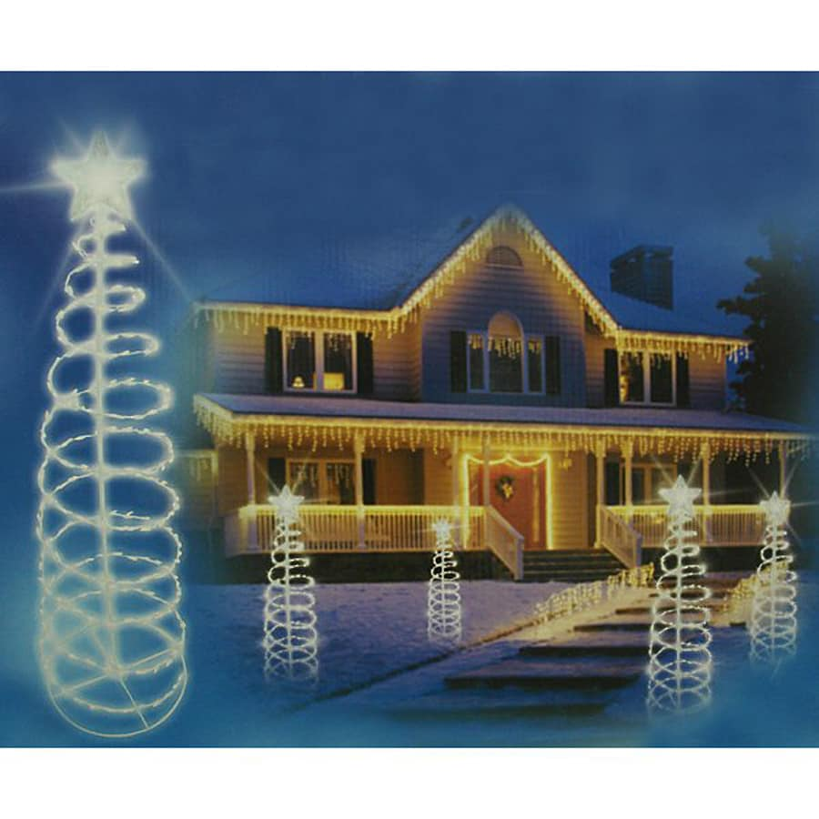 christmas central lighted spiral tree outdoor christmas decoration with white constant led lights