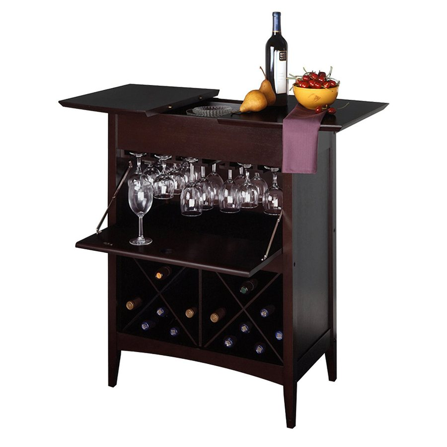 Winsome Wood Butler Dark Espresso 24-Bottle Beechwood Wine Cabinet
