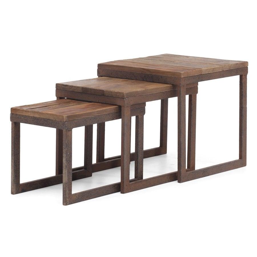 Zuo Modern Civic Center 3-Piece Distressed Natural Fir Accent Table Set