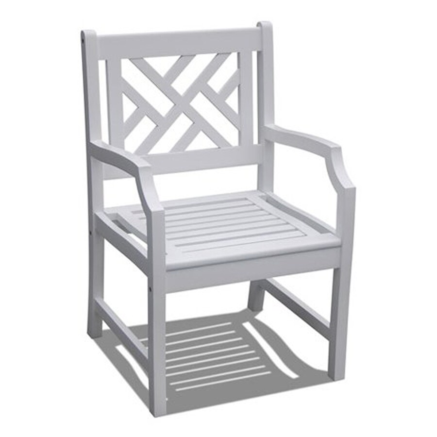 VIFAH Bradley White Acacia Patio Dining Chair