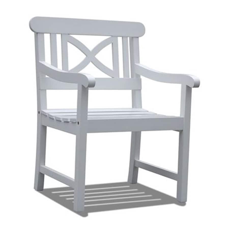 VIFAH Bradley White Acacia Patio Dining Chair