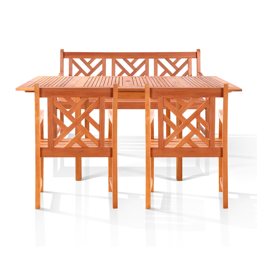 VIFAH Malibu 4-Piece Eucalyptus Patio Dining Set